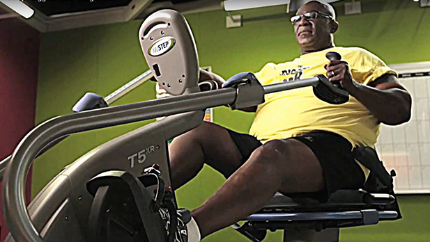 O'Neal Hampton exercise on NuStep T4r recumbent cross trainer